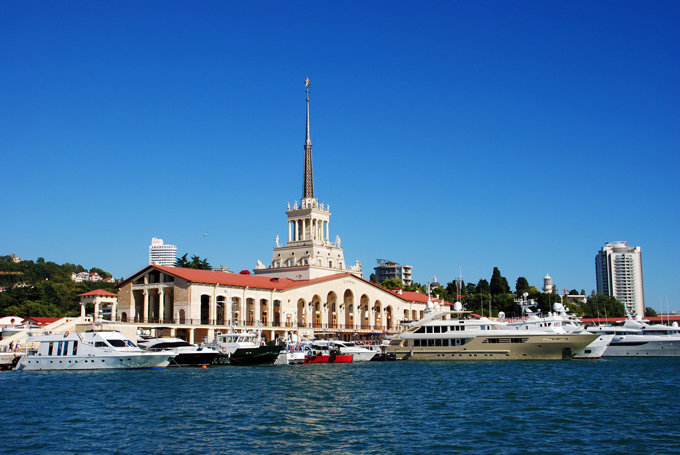 Central facade of marina of Sochi