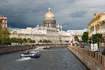 View of the Moika River and the St. Isaac's Cathedral