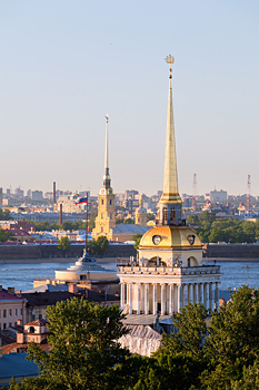 Panoramic view of Peter and Paul Fortress and spire of the Admiralty