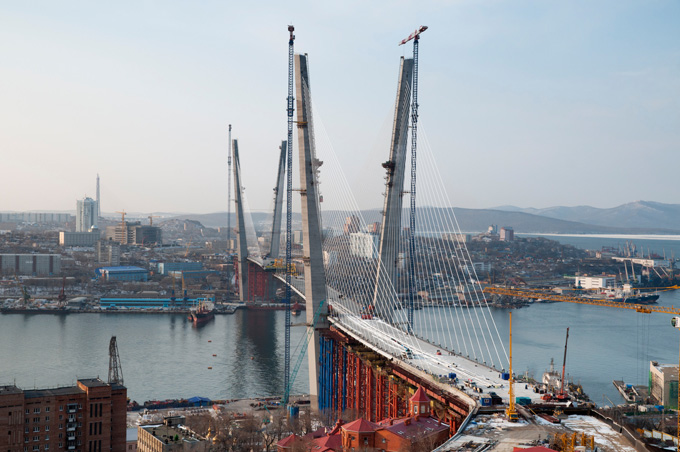 Golden Horn bay. End of construction of cable-stayed bridge