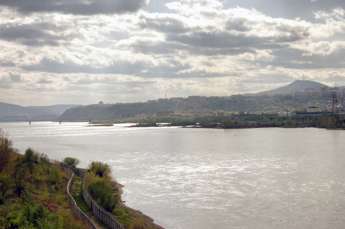 View to the Yenisei river and the city of Krasnoyarsk